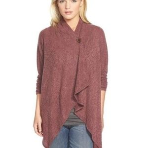 Bobeau L marroon wrap cardigan